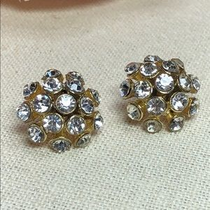 Jewelry - Gorgeous Gold Crystal Bauble Cluster Stud Earrings